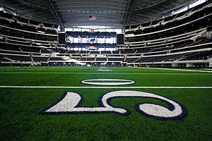 Fitty yard line at Cowboys Stadium