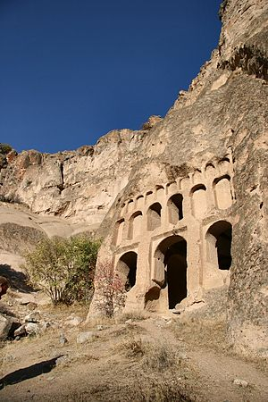 A rock-cut temple in Cappadocia
