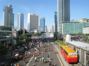 Jakarta during monthly Car Free Day, on the la...