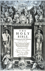 """The title page's central text is:""""THE HOLY BIBLE,Conteyning the Old Testament,AND THE NEW:Newly Translated out of the Originall tongues: & with the former Translations diligently compared and revised, by his Majesties speciall Comandement.Appointed to be read in Churches.Imprinted at London by Robert Barker, Printer to the Kings most Excellent Majestie.ANNO DOM. 1611.""""At bottom is:""""C. Boel fecit in Richmont.""""."""