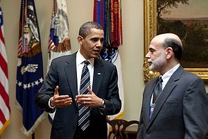President Barack Obama confers with Federal Re...