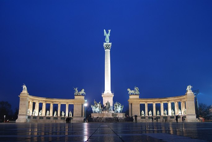 The Millennium Monument in Heroes' Square, Budapest, Hungary
