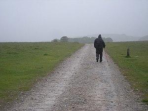 English: Track to Malham Tarn in appalling wea...