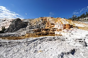 English: Colourful mineral deposition at Mammo...