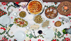 Bulgarian Christmas Eve dinner spread with pum...