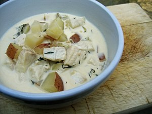 A bowl of fish chowder.