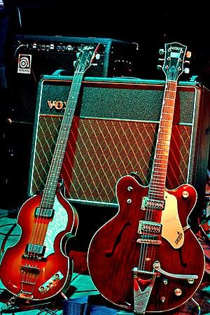 McCartney's Höfner bass and Harrison's Gretsch...