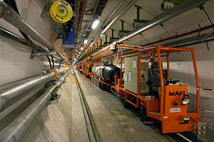 27 km long CERN LHC tunnel, located 100 metres...