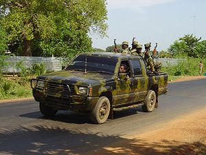 Tamil rebels in a pickup truck in Killinochchi...