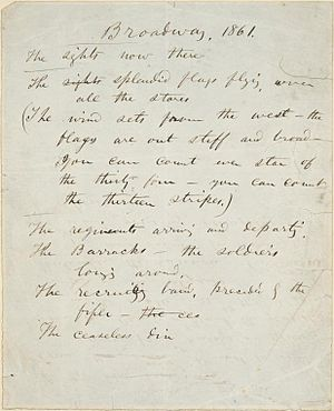 English: Manuscript handwritten by Walt Whitma...