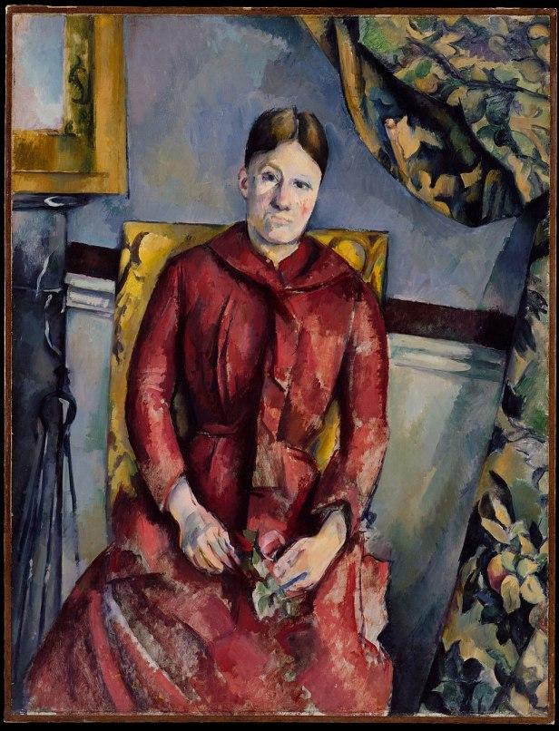 Paul Cézanne, 1888-90, Madame Cézanne (Hortense Fiquet, 1850–1922) in a Red Dress, oil on canvas, 116.5 x 89.5 cm, The Metropolitan Museum of Art, New York
