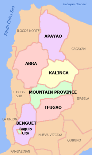 English: Political map of the Cordillera Admin...