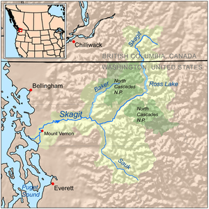 Map showing the Skagit River drainage basin.