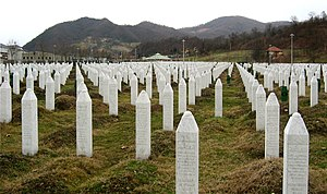 English: Gravestones at the Potočari genocide ...