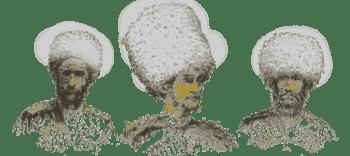English: Drawings of three Circassian Characters
