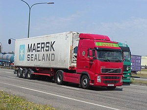 A container truck carrying reefer