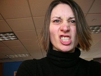 English: Angry woman.