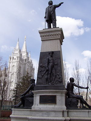 The Brigham Young Monument in Salt Lake City, ...