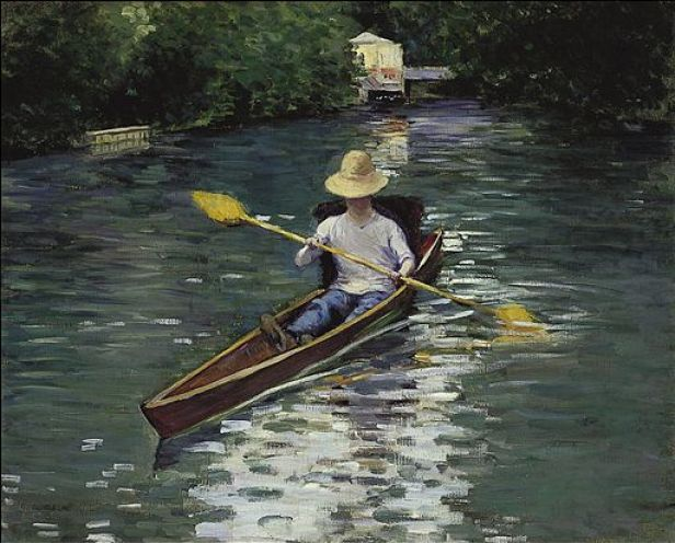 """""""Canoe on the Yerres River"""" by Gustave Caillebotte"""