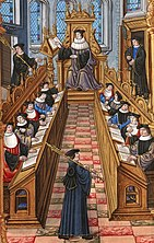 A meeting of doctors at the university of Paris. From a medieval manuscript of