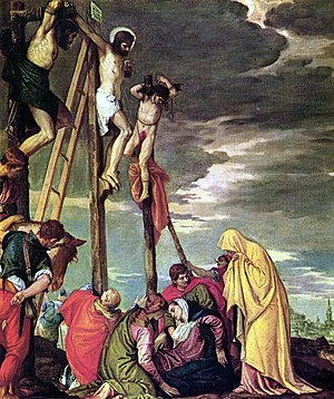 Jesus, on the cross, is mocked in Calvary as t...
