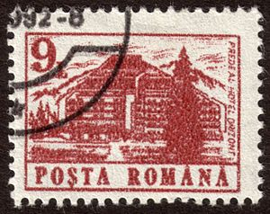Romanian stamp of the Hotel Orizont, Predeal. ...