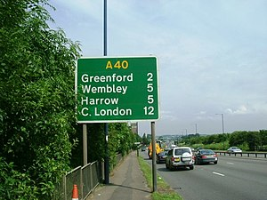 English: A40 Western Avenue The A40 looking to...