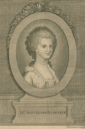 Engraving of Ann Eliza Bleecker, a socialite a...