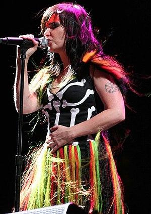 Björk Guðmundsdóttir performing at the Coachel...