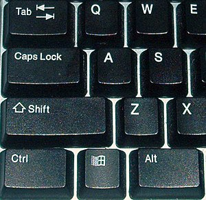 The caps lock key on a modern keyboard (near u...