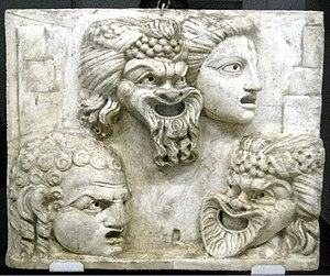 Relief with theatrical masks. Cast