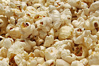 Popped popcorn, ready for eating.