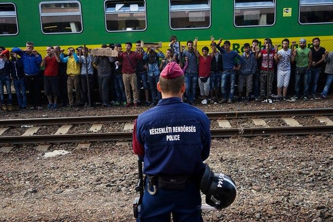 Syrian refugees strike at the platform of Budapest Keleti railway station. Refugee crisis. Budapest, Hungary, Central Europe, 4 September 2015. (3)