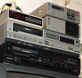 Three Sony Betamax VCRs built for the American...