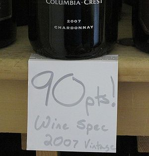 English: A retail wine shop tag advertizing a ...