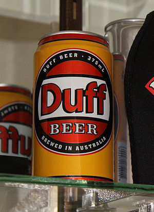 Can of Duff beer, produced in the 1990s by the...