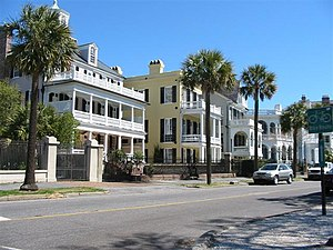 Historic homes near to the Battery Park in Cha...