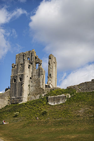Ruins of the keep at Corfe Castle, Dorset, England