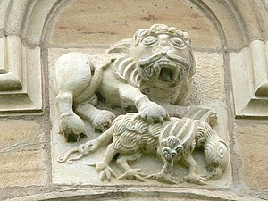 English: Gurk Cathedral. The lion ( Christ ) k...