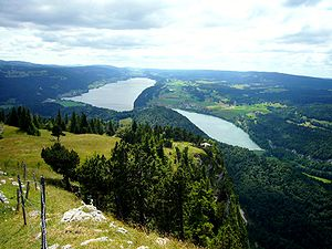 English: Vallée de Joux, Lake Joux and lake Br...