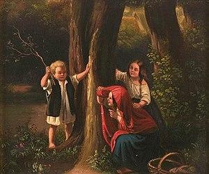 """Meyerheim: Three children playing """"hide a..."""