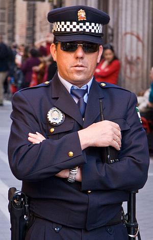 Cop doing his job.