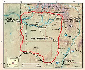 English: Map of San Juan Basin, Colorado-New M...