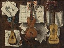 Instruments à cordes représentés sur un tableau en trompe-l'œil de Sebastiano Lazzari (XVIIIe siècle).