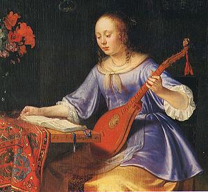 """Photograph of renaissance canvas """"Woman w..."""