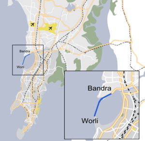 Map of Bandra-Worli Sea Link in Mumbai, India