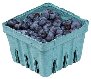 A pack of blueberries from a organic farm co-o...