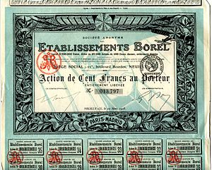 1918 share certificate printed in France.