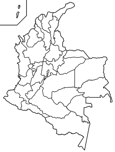 Black Map Colombian And White Political South America Division