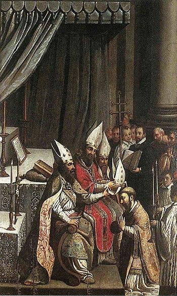 La consécration de Déodat (huile sur bois)